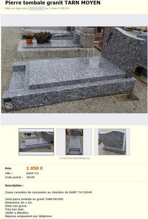 pierre tombale sur le bon coin